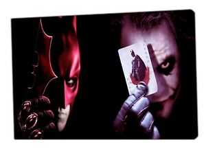Batman-And-Joker-Shows-Their-Card-Photo-Picture-Print-On-Wood-Framed-Canvas-Art