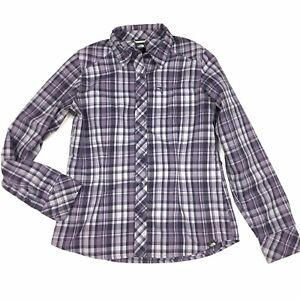 The-North-Face-Size-XS-Womens-Button-Down-Short-Long-Sleeve-Purple-Plaid
