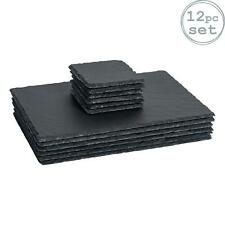 Rectangle Slate Placemats x6 and Coasters x6 Set Padded Feet Dining Wedding