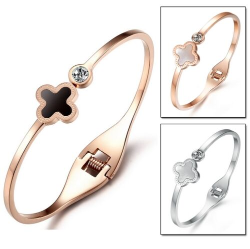 "Bracelet bangle /""LUCKY CLOVER/"" Silver Plated Or Gold pink bangle trend"