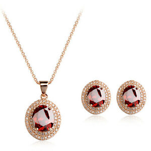 18K-GOLD-PLATED-amp-GENUINE-CUBIC-ZIRCONIA-RUBY-RED-NECKLACE-amp-EARRING-SET