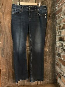 Silver-Jeans-Size-14-X-32-Suki-Surplus-Bootcut-Womens-Blue-Distressed-Denim