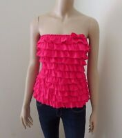Hollister Womens Strapless Tube Top Size Small Ruffle Shirt Blouse Hot Pink