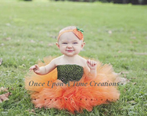 Little Pumpkin Tutu Newborn Baby Girl 3 6 12 Months Halloween Costume Orange
