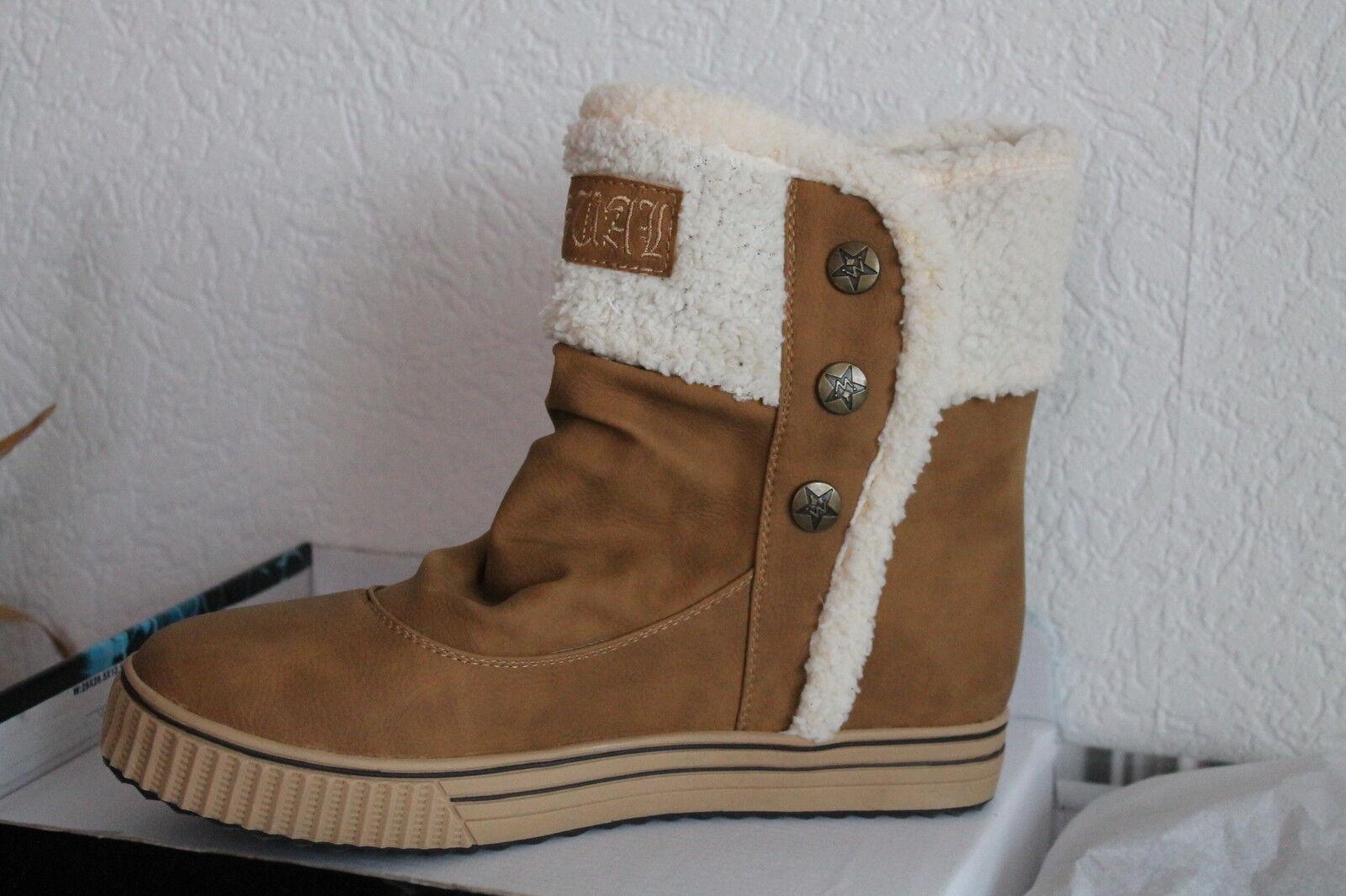 Damen Stiefeletten  Winter Schuhe Stiefel gefüttert Knöchelschuhe Fellrand