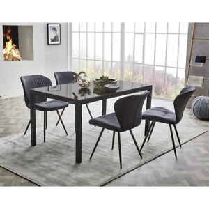 Tischgruppe Duren Timbas Esszimmer Schwingstuhl Esstisch Anthrazit