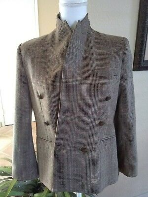 Women's Vintage Clothing Loyal Zara Woman Morocco 100% Wool Hounds-tooth Blazer Equestrian Buttons M/medium