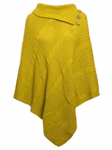 Womens Poncho Jersey Turtleneck Warm Shawl Winter Cape Jumper Sweater Size 8-18