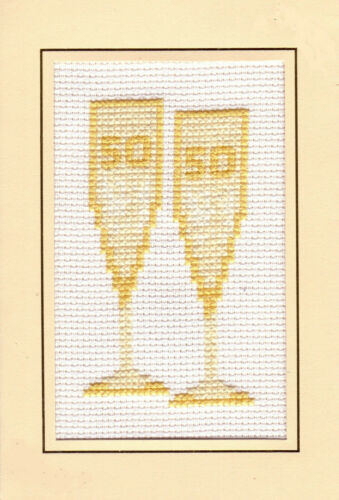 "Cross Stitch Card Kit 4/""x6/"" 14 Count 50th Golden Glasses Wedding Anniversary"