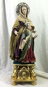 San-Anna-Maria-Madonna-Bambina-20x20x63-Cm-St-Anna-Statua-Santi-vestiti