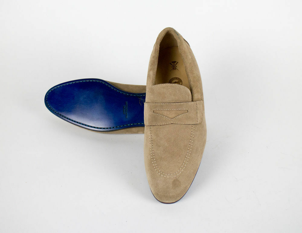 New SUTOR MANTELLASSI Brown Suede Pelle Penny Loafers Shoes US Size 9 US Shoes  850 c27b21