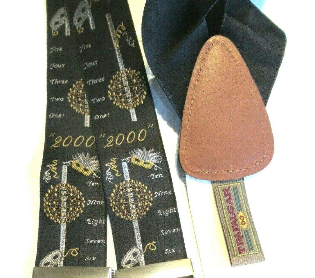 TRAFALGAR Ltd Ed Suspenders Silk Braces 2000 Party Dancing New Years Eve Black