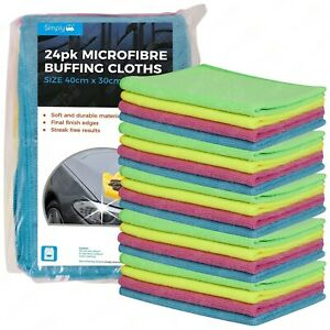 24 x Large Microfibre Cloths Car Cleaning Valeting Waxing Detailing Polishing