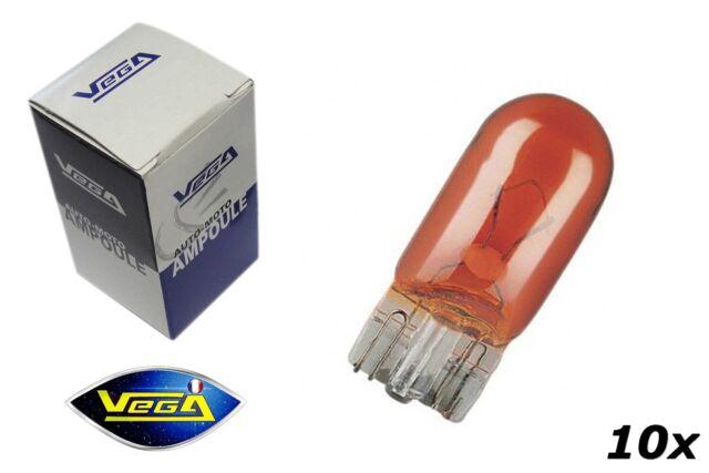 10 ampoules Vega® clignotant W2x4.6d T5 WY2.3W Halogène Orange 12V