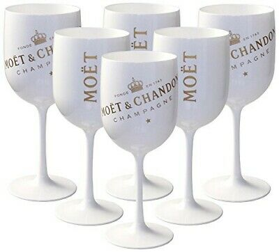 10 X Bicchieri Bianchi Moet & Chandon Ice Imperial Moet 0.45l In Plastica Top