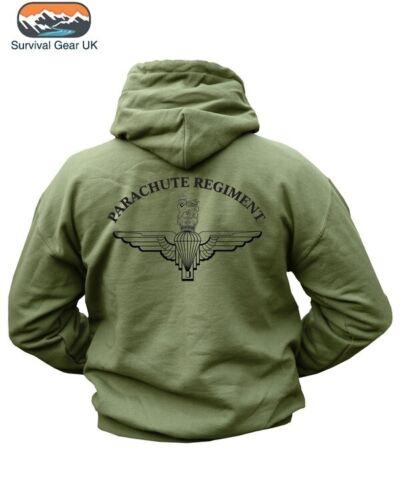 Parachute Regiment Vert Olive Mélange Coton Pre Shrunk Sweat à capuche double face