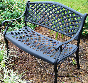 Outdoor Garden Cast Aluminum Victorian Crosweave French Patio Park Bench Antique Ebay