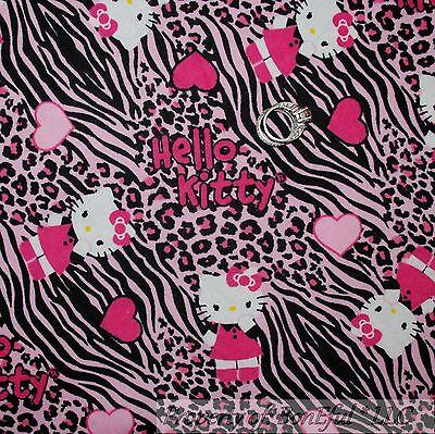 BonEful Fabric FQ Cotton Quilt Flannel Black Pink HELLO KITTY Girl Zebra Leopard