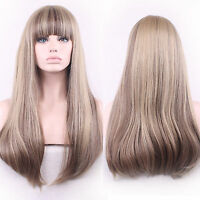 Womens Long Straight Full Wig Ombre Neat Bang Hair Synthetic Wigs Wig Cosplay