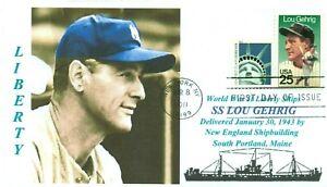 Lou-Gehrig-Barco-Llamado-para-Beisbol-Atleta-Color-Retrato-Primer-Dia-de-Numero