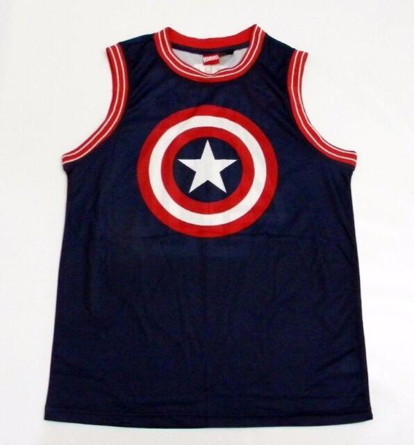 af96f5bc31394 Marvel Comics Captain America Shield Mens Tank Top Basketball Jersey SIZE-L