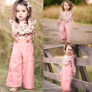 Baby-Girl-Long-Sleeve-Floral-Tops-Ruffles-Overalls-Pants-Clothes-Kids-Outfit-Set