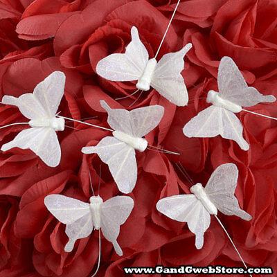 Decorative Glitter Butterfly On Stem Butterflies Craft Arts Flower Arrangements
