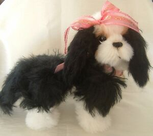 Kisses, mohair, Cavalier King Charles spaniel dog pattern, by Alaine Ferreira