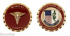 """ARMY MEDICAL CORPS FLAG CADUCEUS MILITARY LOGO 1.75"""" MILITARY CHALLENGE COIN"""