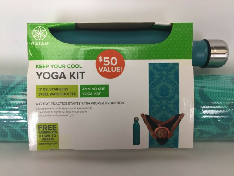 NEW GAIAM yoga mat kit - includes 4mm non slip yoga mat and 17 oz. water bottle