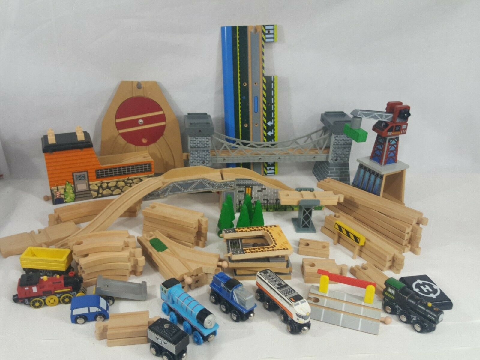 Thomas Lot of Wood i treni Tracks gree cifras costruziones Turn Table Crane Huge