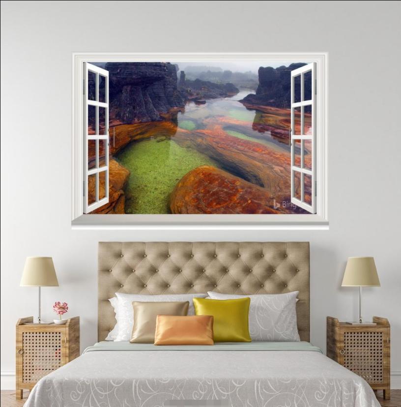 3D Cllear River View 118 Open Windows WallPaper Wandbilder Wall Print AJ Jenny