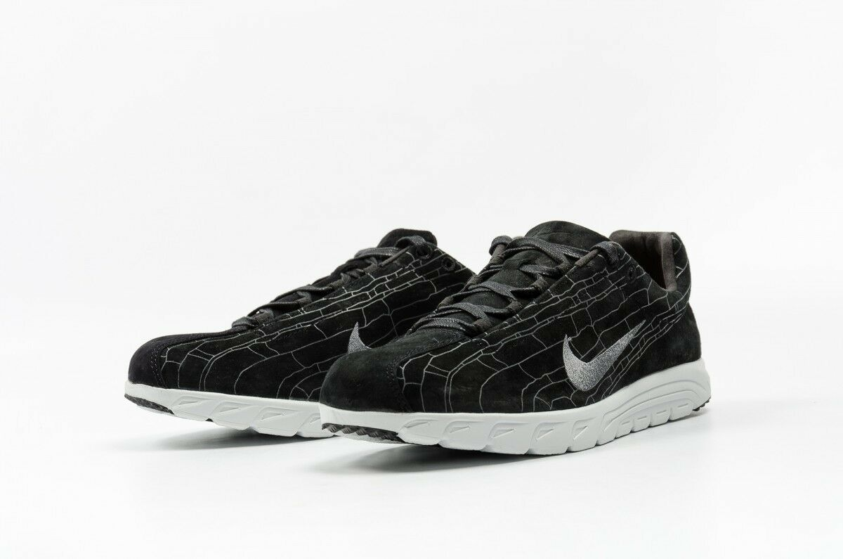 Nike Mens Mayfly Leather PRM Suede Running Shoes Black White 816548-003 Size 9