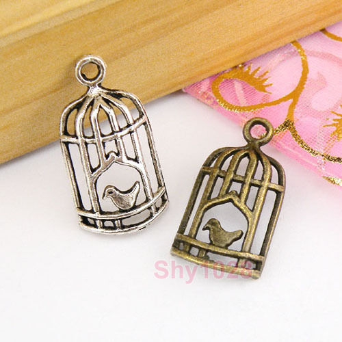 20Pcs Tibetan Silver,Antiqued Bronze Bird Cage Charms Pendants 18.5x27mm M1586