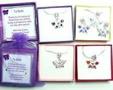 Crystal Butterfly Necklace Personalised Gift Box/Tag Bridesmaid Flower Girl Gift