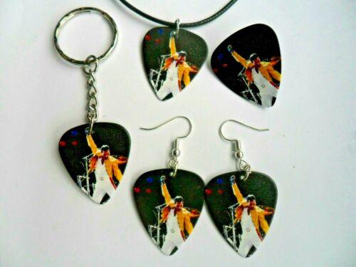 FREDDIE MERCURY Queen  Guitar Pick  Keyring Necklace Earrings Badge