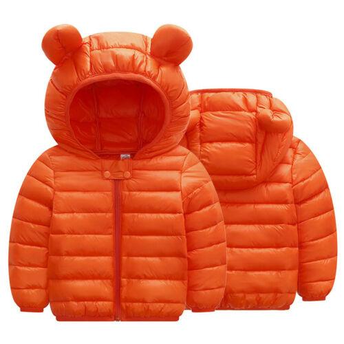 Children Boys Girls Winter Coats Jacket Kids Zip Thick Ears Snow Hoodie Outwear