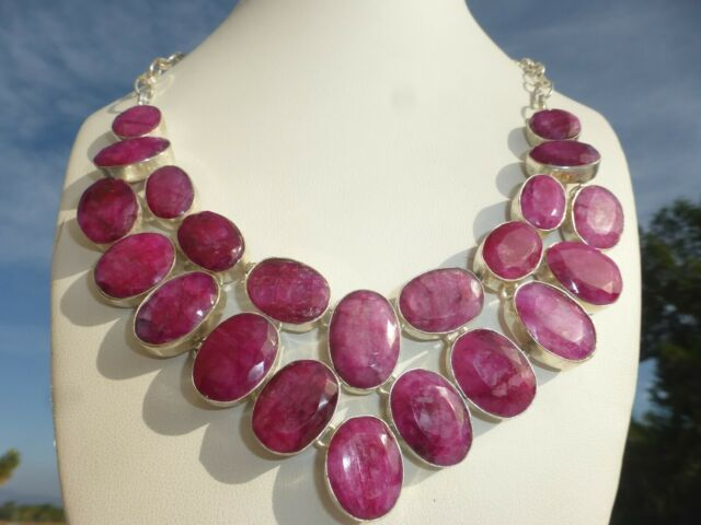STUNNING Sterling silver 925 Large Cluster Burmese Rubies Bib NECKLACE AMAZING