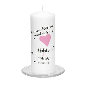 Hochzeitskerze-Zwei-Herzen-inkl-Personalisierung-amp-Farbwahl-Hochzeit-Traukerze