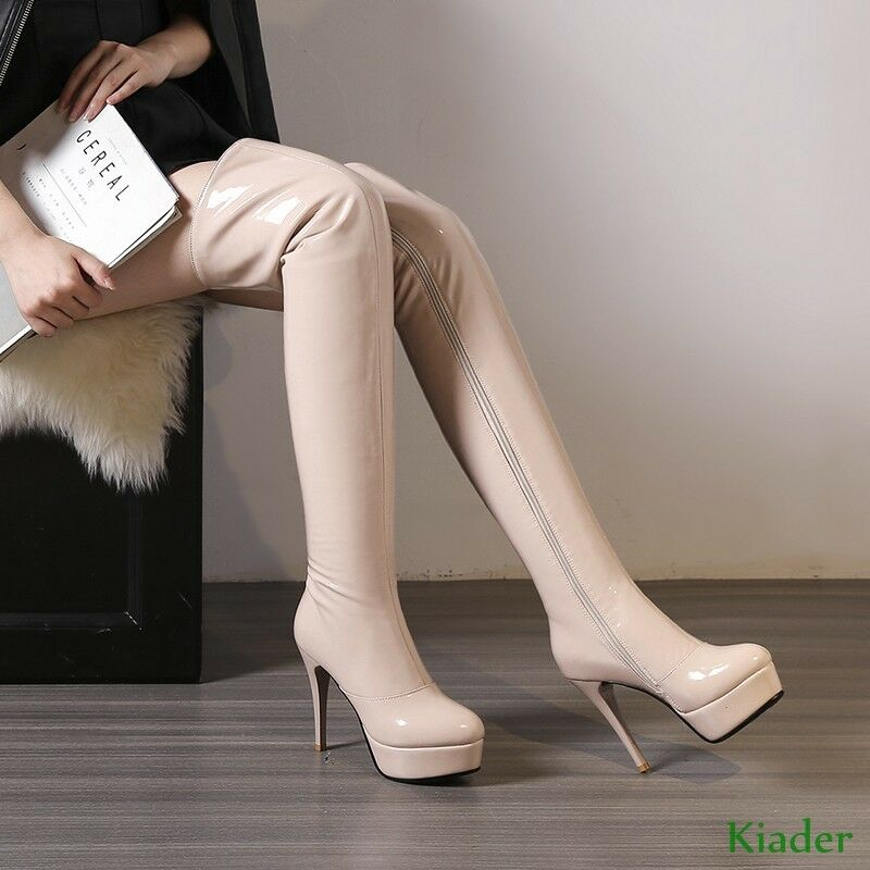 Stylish Womens Platform PU Leather Over Knee Thigh Boots High heels Stilettos Sz
