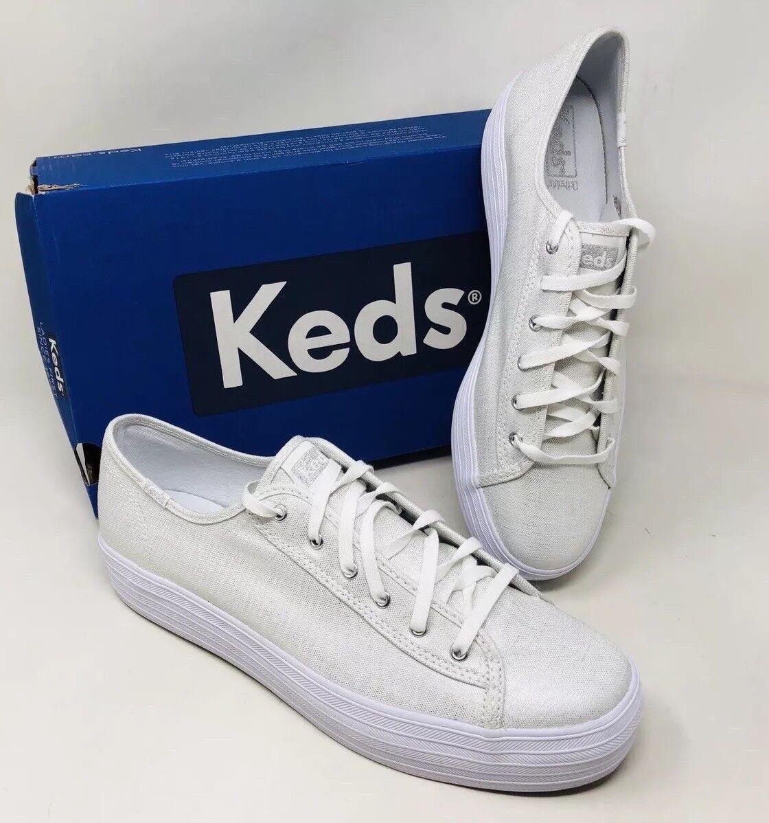 Keds Women's Triple Kick Metallic Lace Up Sneaker Size 9.5 Silver MSRP  75