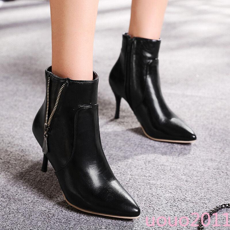 Sexy spitz Stilettos Damen Stiefeletten zip party High Heels Stiefel Weinrot 44 45
