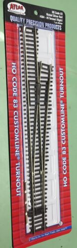 #564 Atlas Code 83 Nickel Silver rail #6 right turnout switch