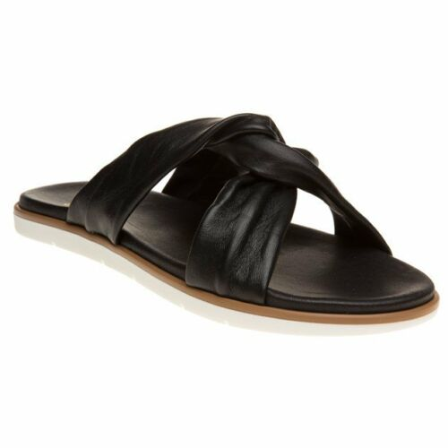 New Womens SOLE Black Gracia Suede Sandals Flats Slip On