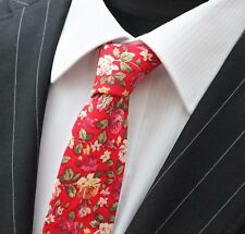 Tie Neck tie Slim Bright Red with Multi Floral Quality Cotton T6027