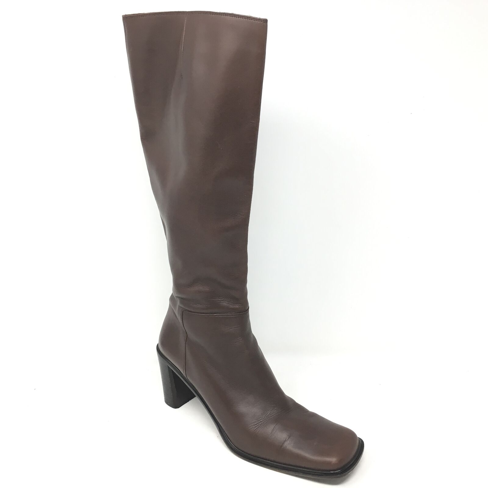 Women's Via Spiga Knee High Boots shoes Sz 7.5M Brown Leather Side Zip  P14
