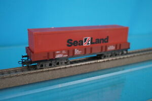 Marklin 4473 DB Four axled Flat car with SEALAND container 40 ft.