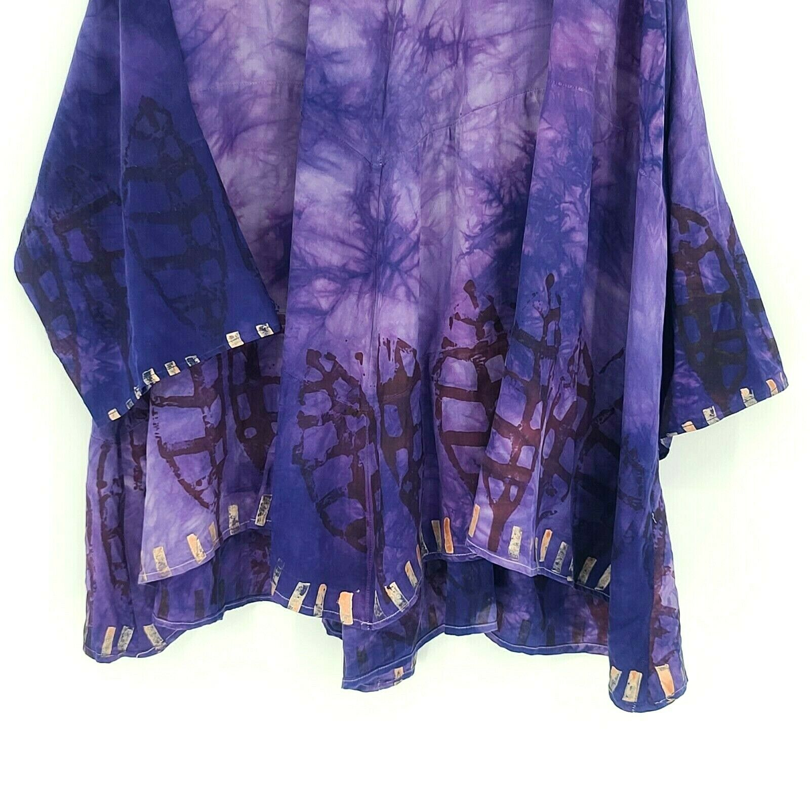 Laise Adzer womens Vintage 1980's Hand Painted Si… - image 4