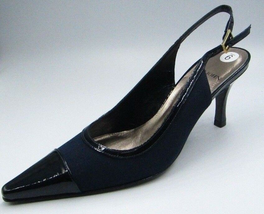 New St  John Knits Navy Crepe nero Slingback Heels Leather Sole SJ Kelly 6 M  scegli il tuo preferito