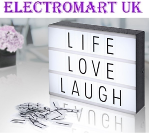 A5 SIZE MESSAGE CINEMATIC LIGHT BOX 60 LETTERS NUMBERS MAGNETIC FREE STANDING